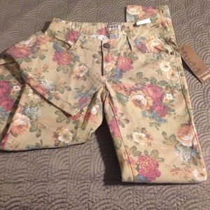 Mudd size 9 floral skinny pants